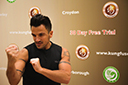 Peter Andre practicing his wing chun punches at Kung Fu Schools croydon during the national franchise launch.